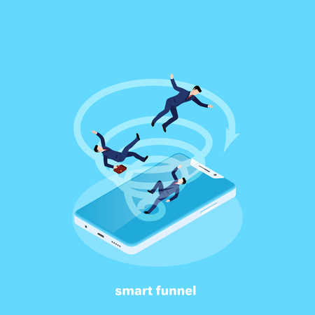 A whirlwind in a smartphone draws people in business suits, an isometric image