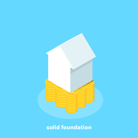 The house stands on gold coins on a blue background, isometric image