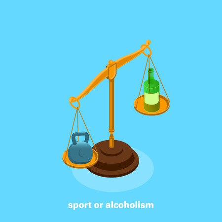 On the scales are a kettle bell and a bottle, an isometric image