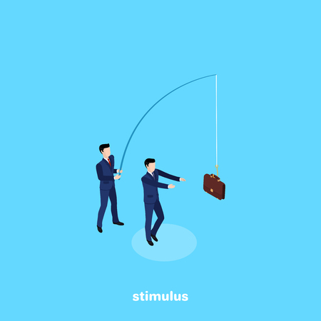 a man in a business suit using a bait leads another man, an isometric image Illustration