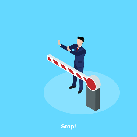 a man in a business suit stands behind a barrier, an isometric image