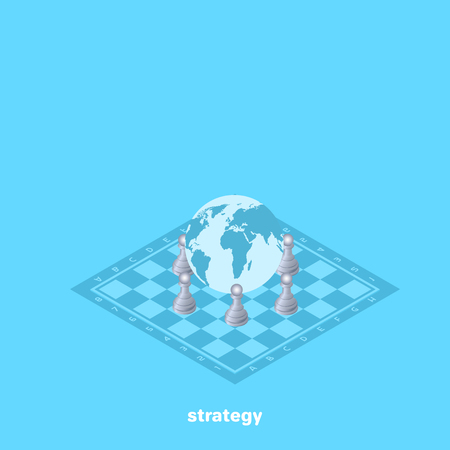 On the chessboard there is a globe and pawns around it, an isometric image Illustration
