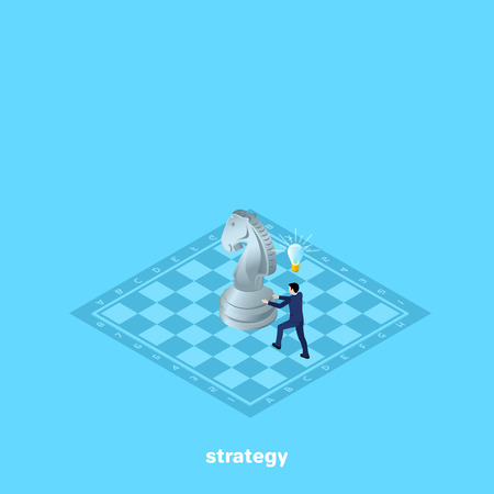 a man in a business suit moves a horse on a chessboard, an isometric image