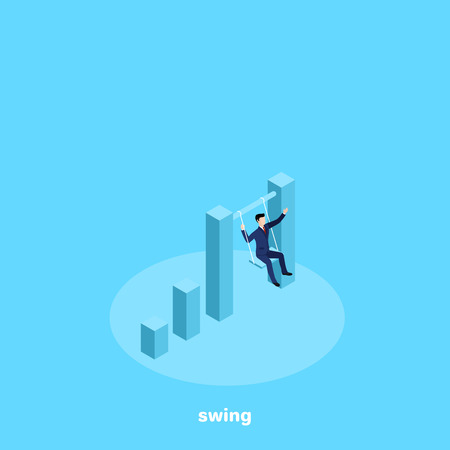 a man in a business suit is riding on a swing between two tall columns of the chart, an isometric image