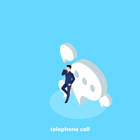 man in a business suit talking on a mobile phone, isometric image