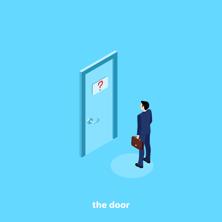 a man in a business suit is standing in front of a closed door, an isometric image Illustration
