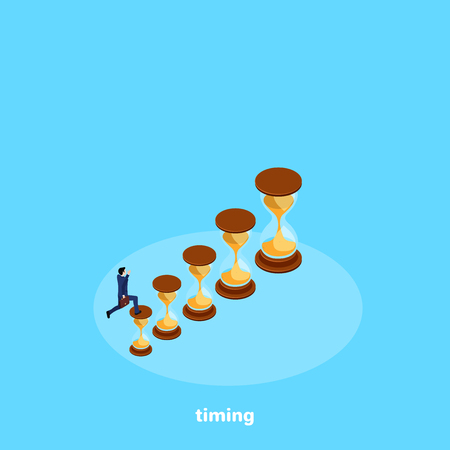 a man in a business suit runs up a diagram lined up from an hourglass, an isometric image 일러스트