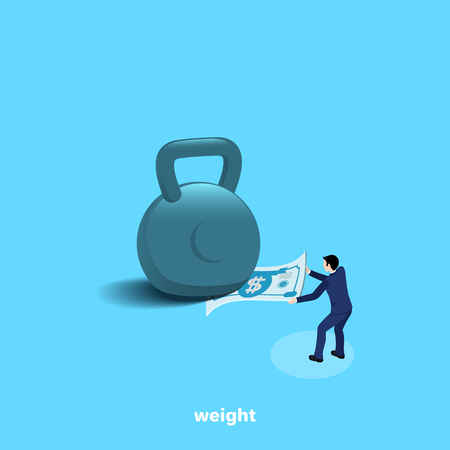 a man in a business suit is trying to pull a bill out of a huge weights, an isometric image
