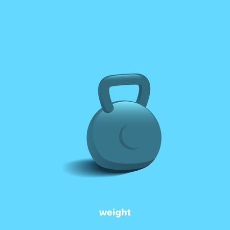 dumbbell with highlights and a shadow on a blue background