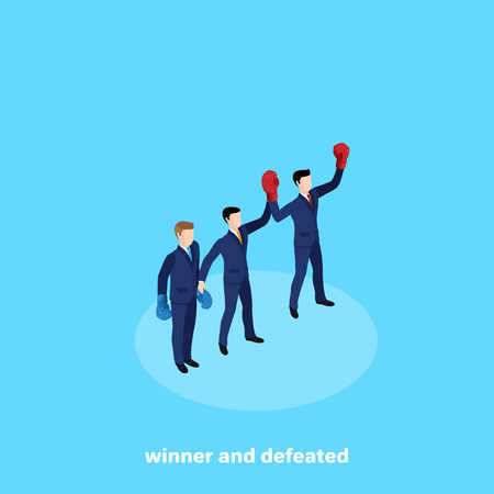 referee business duel raised the champions hand, an isometric image Illustration