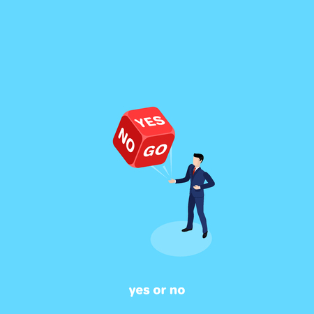 a man in a business suit tossed red dice with the words yes and no, isometric image Stock Vector - 102420502