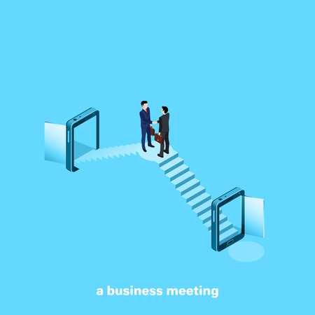 men in business suits greet the hand, isometric image