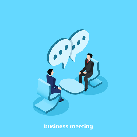 men in business suits are sitting opposite each other and talking, an isometric image