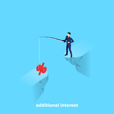man in business suit with a fishing rod in his hands, isometric image