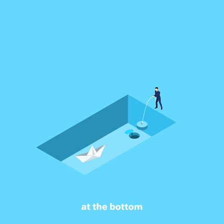 a man in a business suit holds a cork from an empty pool in which there is a paper boat, an isometric image
