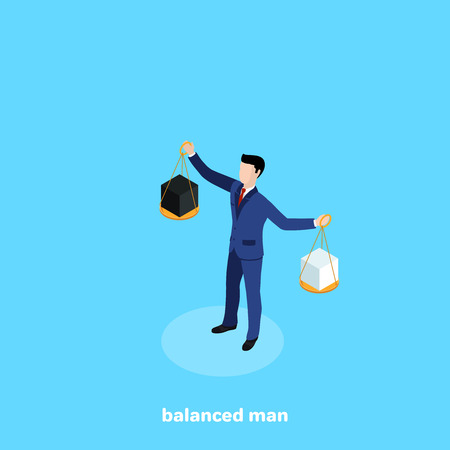 a man in a business suit holding a bowl from the scales, an isometric image