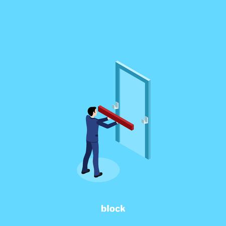 un homme en costume met un bloc sur la porte, une image isométrique Vecteurs
