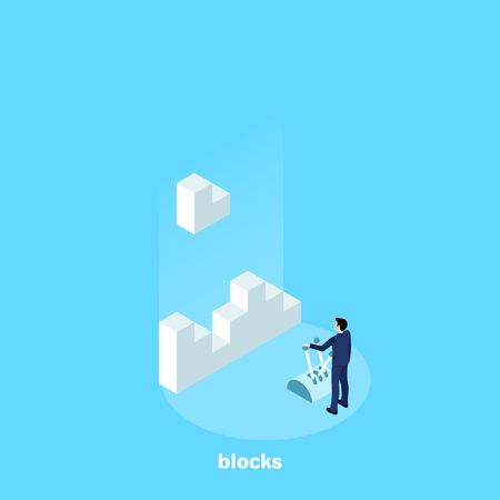 the man in the business suit manages the blocks by peeling them into one piece, an isometric image Illustration