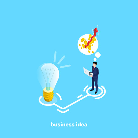 a man in a business suit with a laptop stands next to a light bulb and thinks about raising the income, an isometric image