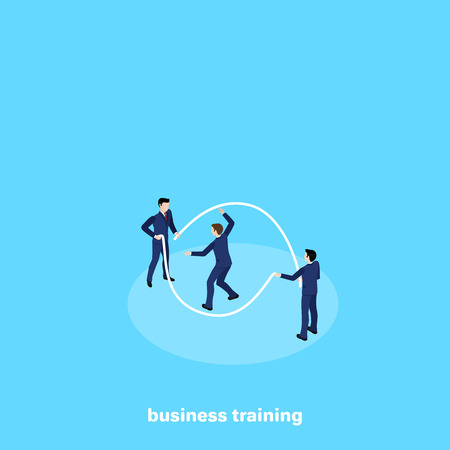 people in business suits jumping rope, isometric image