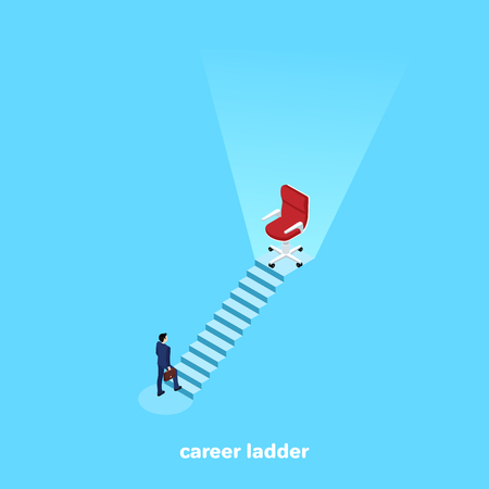 a man in a business suit rises up the career ladder on top of which is an empty chair, an isometric image Ilustração