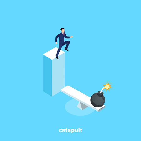 a man in a business suit jumping from a height to the catapult to launch a grenade, an isometric image