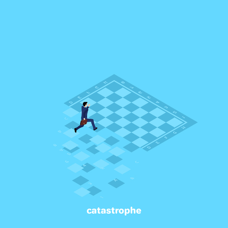 a man in a business suit runs along the crumbling chessboard, an isometric image Illustration