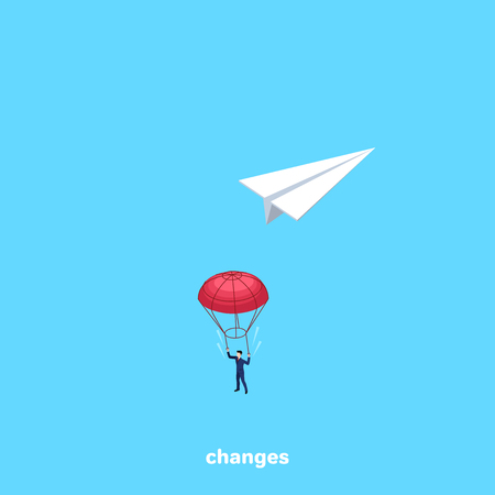 a man in a business suit jumped with a parachute from a paper airplane, an isometric image