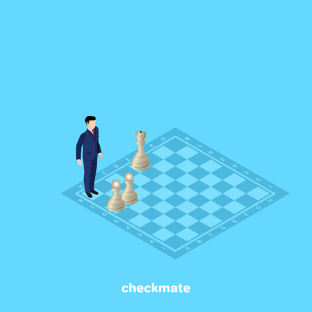 a man in a business suit stands on a chessboard in a matte position, an isometric image Иллюстрация