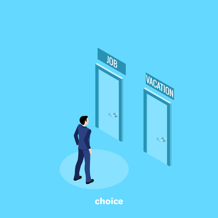 a man in a business suit faces a choice in which door to enter, an isometric image