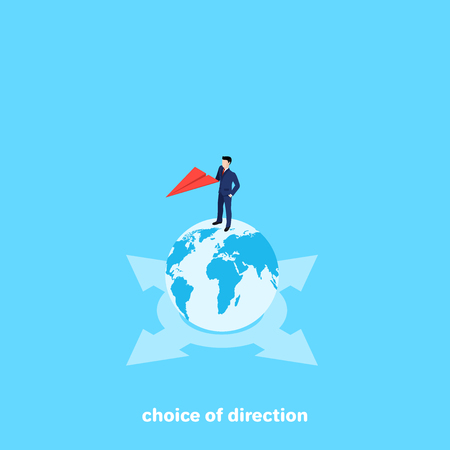 a man in a business suit is standing on a cloud ball and holds a red paper airplane, an isometric image Illustration