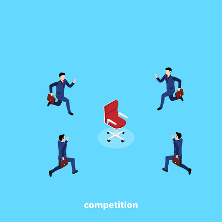 men in business suits compete who will first run to the chair, isometric image Illustration