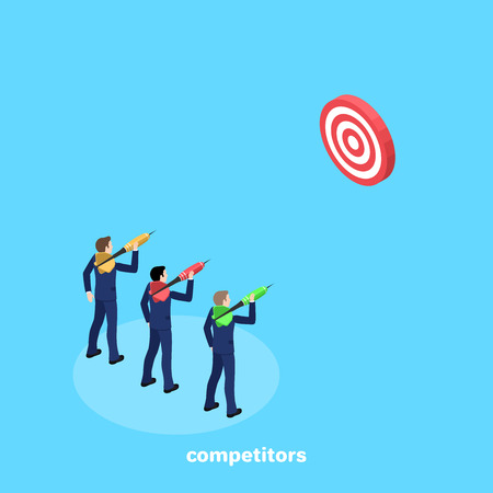 a man in a business suit is aiming with a dart at the target, an isometric image Illustration