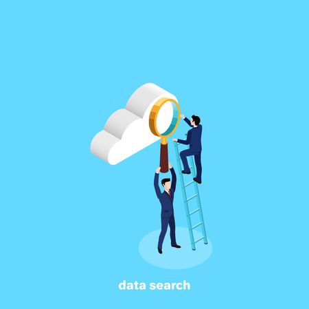 man in business suit standing on stairs looking at cloud through magnifier, isometric image 矢量图像