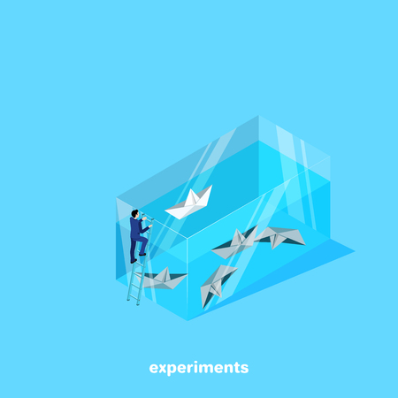 a man in a business suit launches paper boats in an aquarium, an isometric image Ilustração
