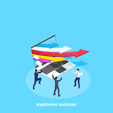 multicolored arrows flying out of the laptop screen and rejoicing men in business suits, isometric image