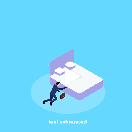 a man in a business suit barely crawled to his bed from fatigue, an isometric image