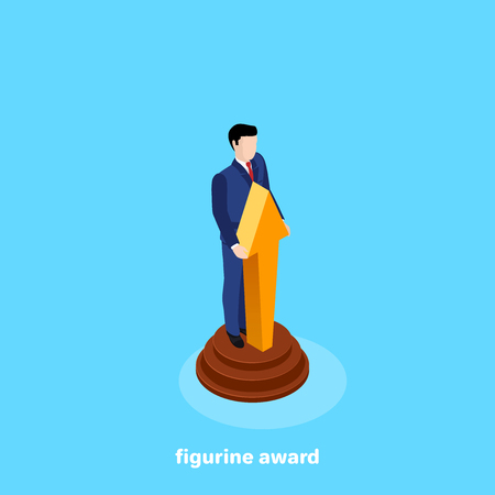 man in a business suit in the form of a figurine, isometric image