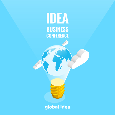 the globe inside a bulb hanging in the sky, an isometric image