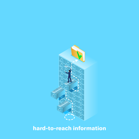 a man in a business suit overcomes a difficult path to the top for obtaining the necessary information, an isometric image