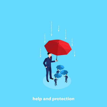 a tall man in a business suit is holding an umbrella over other people protecting them, an isometric image