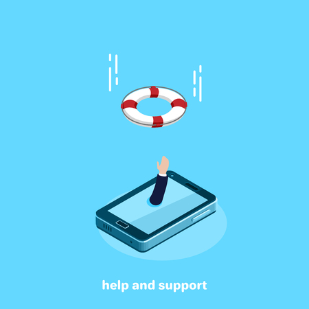 the hand from the smartphone screen stretches upwards calling for help and flying to the aid of a life ring, an isometric image Banco de Imagens - 105353113