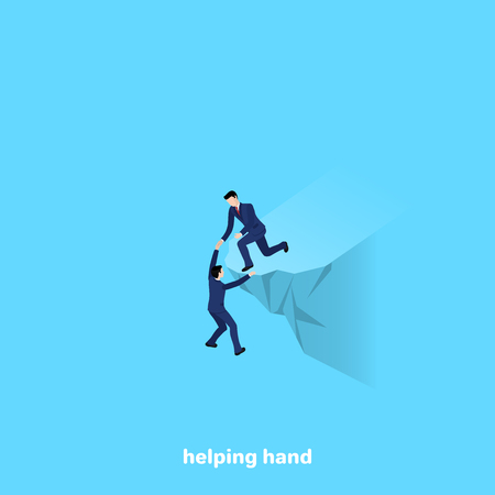 a man in a business suit gave a helping hand to his colleague, an isometric image