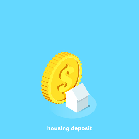 house and a large gold coin on a blue background, isometric image