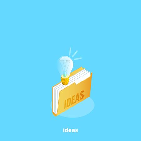 icon folder with a light bulb and an inscription idea, an isometric image