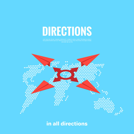 Red paper airplanes flying in different directions over the map of the world, isometric image