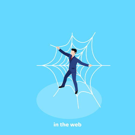 a man in a business suit stuck in a huge web, an isometric image