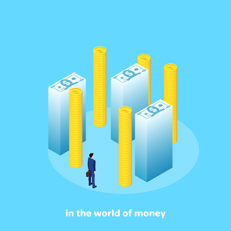 a man in a business suit among high stacks of money, isometric image Banque d'images - 103870528