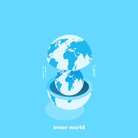 un globo dentro de otro, imagen isométrica Ilustración de vector