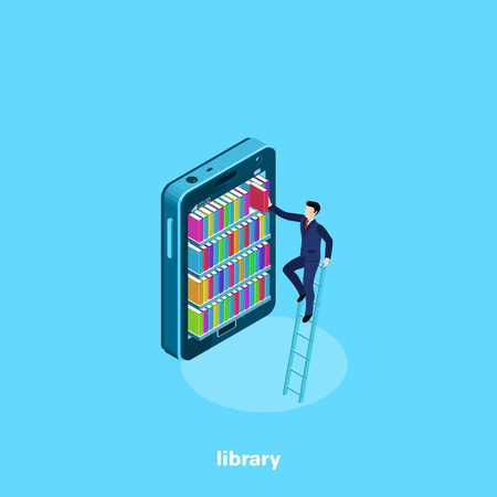 a man in a business suit pulls out a book from bookshelves in a smartphone, an isometric image Illustration